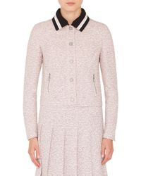Akris Punto - Button Front Tweed Jacket With Detachable Knit Collar - Lyst