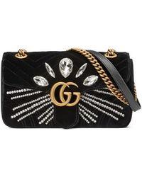 Gucci - Gg Marmont 2.0 Crystal Embellished Velvet Crossbody Bag - Lyst