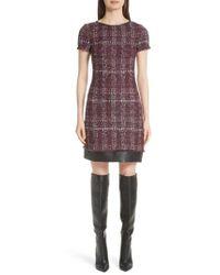 St. John - Flecked Textures Plaid Knit Dress - Lyst