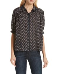 The Great - The Whistle Floral Scalloped Button-front Top - Lyst