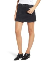 7 For All Mankind - 7 For All Mankind Coated Denim Miniskirt - Lyst