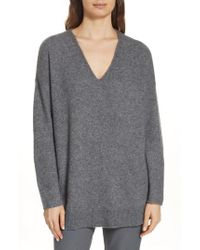 Eileen Fisher - Elongated Cashmere Blend Sweater - Lyst