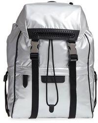 Stella McCartney | Small Metallic Nylon Backpack - Metallic | Lyst