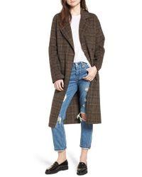 Avec Les Filles - Double Face Plaid Wool Blend Coat - Lyst