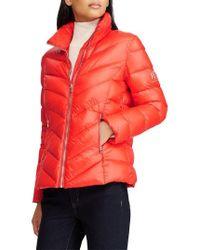 Lauren by Ralph Lauren - Chevron Quilted Packable Down Jacket, Orange - Lyst