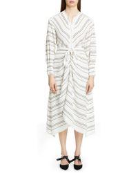 Proenza Schouler - Tie Front Stripe Crepe Dress - Lyst