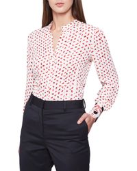 Reiss - Kaya Abstract Pattern Contrast Cuff Blouse - Lyst