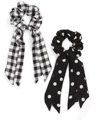 Tasha - 2-pack Plaid/polka Dot Tail Scrunchie Set, Black - Lyst