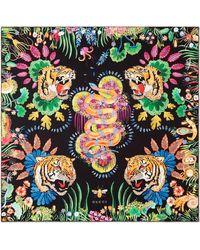 Gucci - Tiger & Kingsnake Print Silk Twill Scarf - Lyst