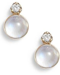 Zoe Chicco - Moonstone & Diamond Stud Earrings - Lyst