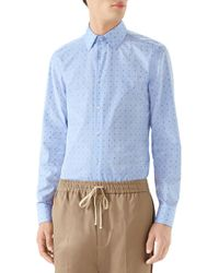 Gucci - G-allover Fil Coupe Sport Shirt - Lyst