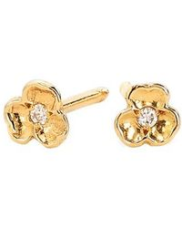 Nora Kogan - Tiny Diamond Pansy Flower Stud Earrings - Lyst