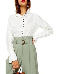TOPSHOP Contrast Button Shirt - White