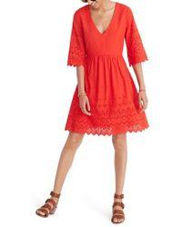 Madewell - Eyelet Lattice Dress - Lyst