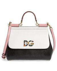 Dolce & Gabbana - Medium Miss Sicily Crystal Logo Leather Satchel - - Lyst