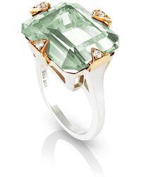 Maniamania - Prasiolite Cocktail Ring With Diamonds - Lyst