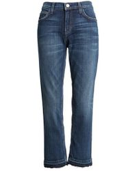 Current/Elliott - The Cropped Straight Released Hem Jeans - Lyst