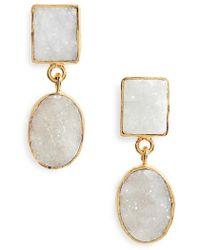 Panacea - Double Drusy Drop Earrings - Lyst
