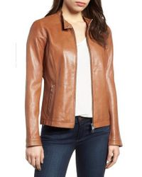 Lamarque - Perforated Leather Biker Jacket - Lyst