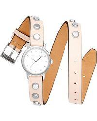 Rebecca Minkoff - Bffls Double Wrap Leather Strap Watch - Lyst