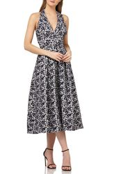 Kay Unger - Halter Tea Length Dress - Lyst