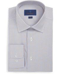 David Donahue - Trim Fit Pattern Dress Shirt - Lyst