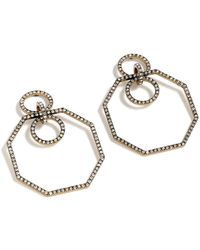 J.Crew - Pave Octagon Earrings - Lyst