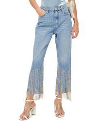 TOPSHOP - Beaded Fringe Jeans - Lyst