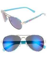 Lilly Pulitzer - Lilly Pulitzer Ainsley 59mm Polarized Aviator Sunglasses - Lyst