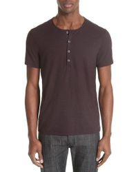 John Varvatos - Striated Henley T-shirt - Lyst