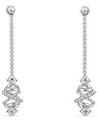 David Yurman - Crossover Chain Drop Earrings With Diamonds - Lyst
