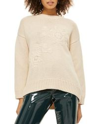 TOPSHOP | Tonal Embroidered Sweater | Lyst