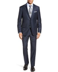 Hickey Freeman Modern Fit Solid Wool Suit - Blue