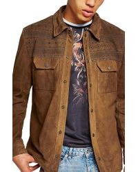 TOPMAN - Embroidered Suede Jacket - Lyst