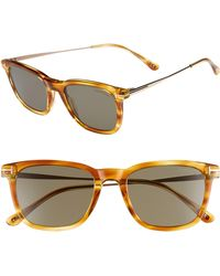 50f9f6c6b1fc Tom Ford - 53mm Rectangle Sunglasses - Light Brown  Smoke - Lyst