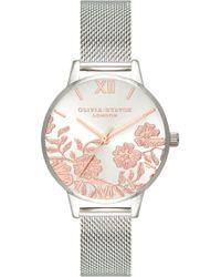 Olivia Burton - Lace Detail Mesh Strap Watch - Lyst