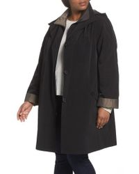 Gallery - Two-tone Long Silk Look Raincoat - Lyst