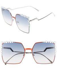 Fendi - 60mm Gradient Square Cat Eye Sunglasses - Palladium - Lyst