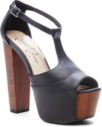 6376a2afebd5 Lyst - Jessica Simpson Dany T-strap Platform Sandals in Black