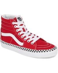 9802ecfc71 Vans - Check Foxing Sk8-hi Racing Red   True White Womens Shoes - Lyst