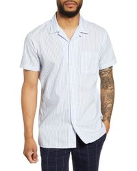 SELECTED Stein Slim Fit Stripe Short Sleeve Button-up Camp Shirt