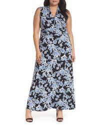 Vince Camuto - Woodblock Floral Maxi Dress - Lyst