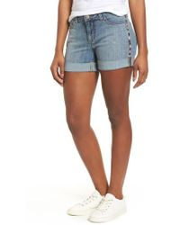 Caslon - Caslon Embroidered Seam Boyfriend Denim Shorts - Lyst