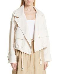 Vince - Drawstring Crop Cotton Jacket - Lyst