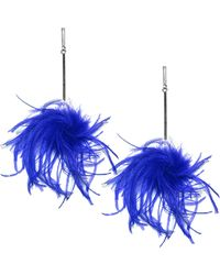 Tuleste - Ostrich Pompom Earrings - Lyst