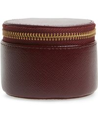Nordstrom - Leather Zip Around Pill Case - Burgundy - Lyst