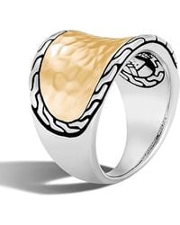 John Hardy - Classic Chain Hammered Saddle Ring - Lyst