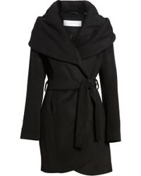Tahari - Wool Blend Belted Wrap Coat - Lyst