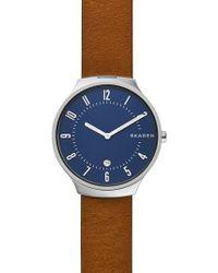 Skagen - Grenen Leather Strap Watch - Lyst