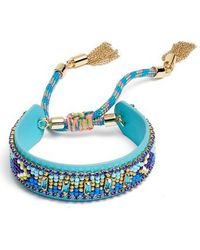 Rebecca Minkoff | Zigzag Beaded Leather Friendship Bracelet | Lyst